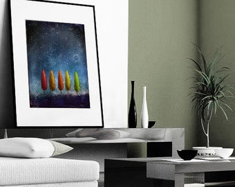 Sweet  Dream -17x22.giclee print.fantasy nature.night,giclee print, art, tree art,print,gift,art collectibles,wall art,wall decor,wall decor