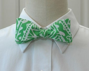 Lilly Bow Tie in green and white Green Bean (self-tie)