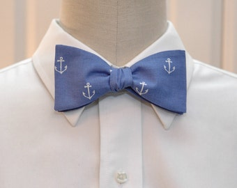Men's Bow Tie in blue with white anchors, nautical bow tie, sailor bow tie, sailor's wedding bow tie, ocean lover bow tie, anchors bow tie