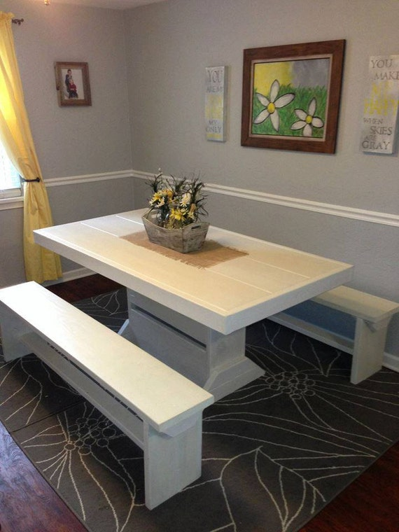 Shabby chic 5 foot table and bench set