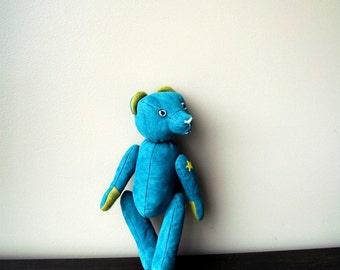 Handmade Teddy Star Blue Ocean Teal All Natural Calm Jointed Teddy Artist Bear