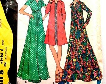 70s McCalls 3377 Maxi or Mini Dress or Robe Muu Muu Short or Long Sleeve Size 8 10 Bust 31 32