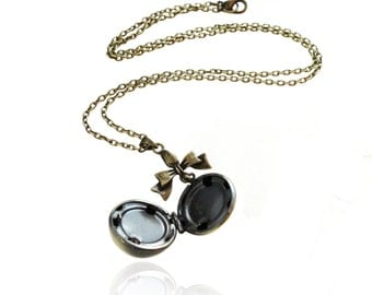 Get 15% OFF - Personalized Antique Bronze Vintage -style Round Ball Locket Pendant Necklace - Labor Day SALE 2017
