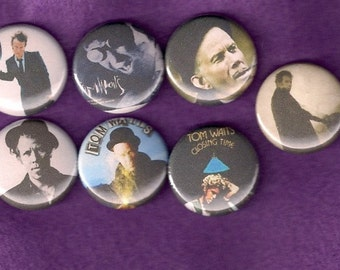 "TOM WAITS 1"" Pins Buttons Badges Set of 7  1 inch pinbacks"