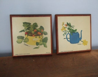Wooden Plaque Strawberries and Teapot Bouquet Print Wall Hangings by Sandra