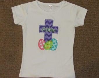 Girls Easter Shirt, Cross, Easter Eggs, You Design