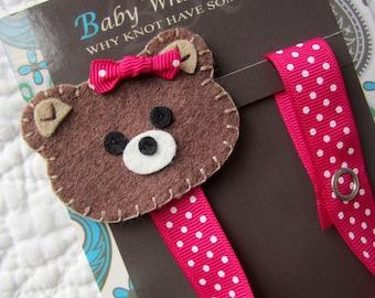 Girl Pacifier Clip, Polka Dot Bear Pacifier Clip,  Teddy Bear Pacifier Holder, pcbear02