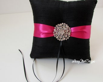 Wedding Ring Pillow - SALE ready to ship -  Black and Hot Pink/Fuchsia
