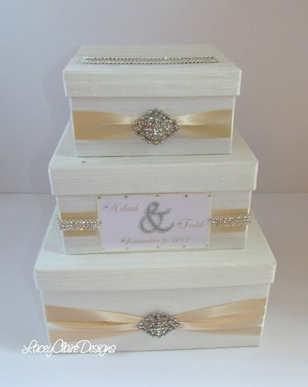 Wedding Gift Box Etsy : Wedding Gift Box Bling Card Box Rhinestone by LaceyClaireDesigns