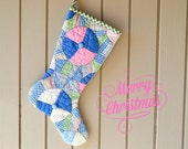 Christmas Stocking, Vintage Quilt, 1930s Snowball Patterns in Pinks, Blues, Greens, Scrappy, Nursery, Baby Stocking, Shabby Chic