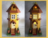 Birdhouse Night Light Lamp Country Townhouse