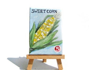 Seed Packet Painting -- Garden Painting -- Garden Art -- Garden Home Decor -- Garden Decor -- Corn Painting -- Retro Art -- Mini Painting