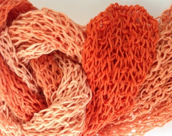 Cotton Scarf, Hand Knit Scarf, Knit Gradient Yarn in Shades of Orange, Summer Accessory