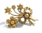 Shabby Chic Old Flower Bouquet Brooch with Faux Pearls and Rhinestones - Vintage Jewelry Brass Petals