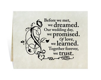 Anniversary card printable says: Before we met, we dreamed. Our wedding day, we promised. Of love, we learned. Together forever, we trust.