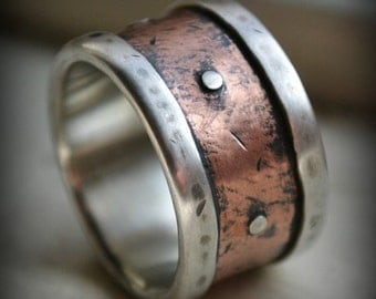 mens wide band wedding ring - rustic fine silver and copper with silver rivets - oxidized - handmade men's ring - customized