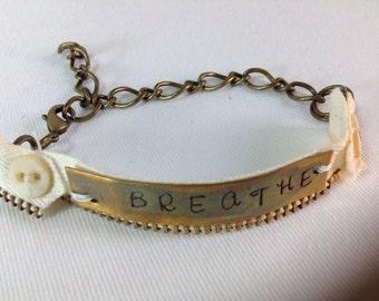 "Stamped Brass Bracelet, Vintage,  ""Breathe"",   Re-purposed"