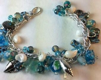 Blue Sea Bracelet. Seashells