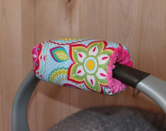 Infant car seat Padded handle cover, handle cover, girl  Padded Handle Cover-reversible padded handle cover