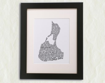 Block Island Word Art Print