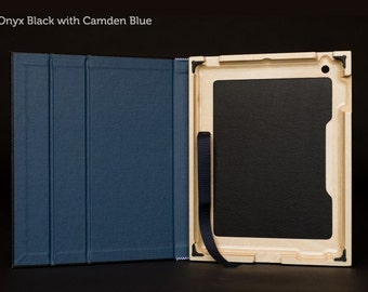 The Contega iPad Case for iPad 4/3/2 - Onyx Black with Camden Blue Interior