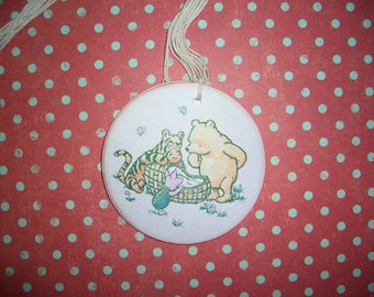 Winne the Pooh Baby Tags with Tigger, Piglet and Baby. Set of Six - Baby Shower, Wish Tree Tags