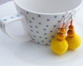 SUMMER SALE, Yellow Felt Earrings Sunny color Merino Wool Felted Balls Handmade Felt Jewelry Eco-friendly Earrings