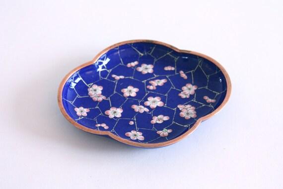 Vintage Blue Floral Enamel Dish
