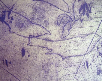 Purple Bird and Leaf Softground Etching Print