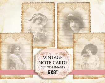 Vintage Woman Note Cards Shabby chic paper Scrapbook Decoupage 6x8 inch (394) 4 PNG images