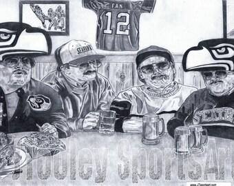 Seattle Seahawks 'DA HAWKS' Art Poster