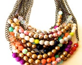 Create your own: Cute Colorblock Czech Glass bead Necklace. Pick your favorite colors!