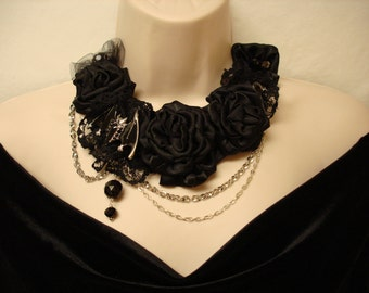 Black Bat Brooch and Flowers Bib Necklace Halloween