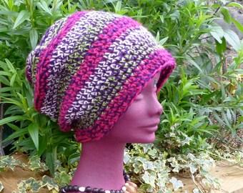 Stripe Winter Crochet Dread Tam, Saggy Baggy Beanie Hat