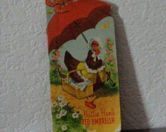 Two Vintage Whitman Childrens Books from 1950s, Hattie Hens Red Umbrella  and Wink.
