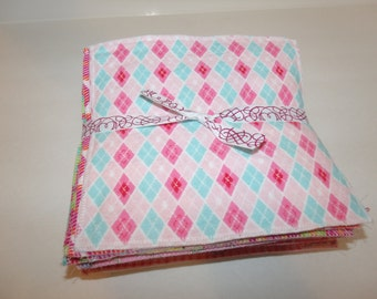 BABY WIPES Set of 36 (3 dozen) 100% cotton flannel 2 layers in girl colors