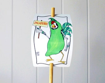 Vegetable Marker Jalapeno Pepper Aluminum Garden Sign Decor Whimsical Fun Farming