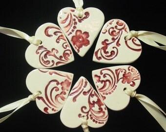 Set of 6  Gorgeous Flower and Flourish, Embellished Ceramic Hearts - Wedding - Christmas Ornaments
