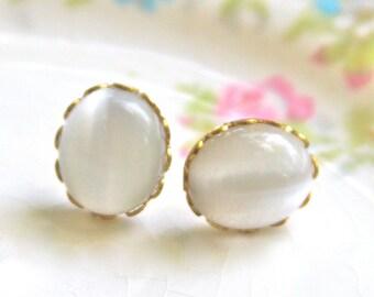 Vintage White Opal Cat Eye Glass  Oval Scalloped Gold Brass Rhinestone Post Earrings - Wedding, Bridal, Bridesmaid, Honeymoon, Beach