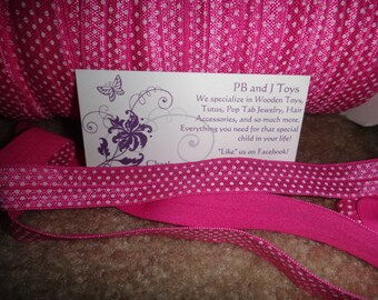 "5/8"" FOE  Pink with White Polka Dots Elastic 5/8 inch"