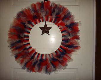 Primitive Patriotic Wreath with Choice of Rustic Star, Painted (red, white, blue) Bell, or Painted Star