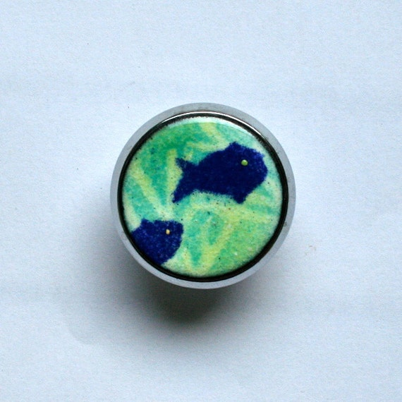 Enameled Custom Cabinet Knobs / Blue fish / Ocean Themed Drawer Pulls / Copper Enamel Cabinet Pulls / Green and Blue Home Accents