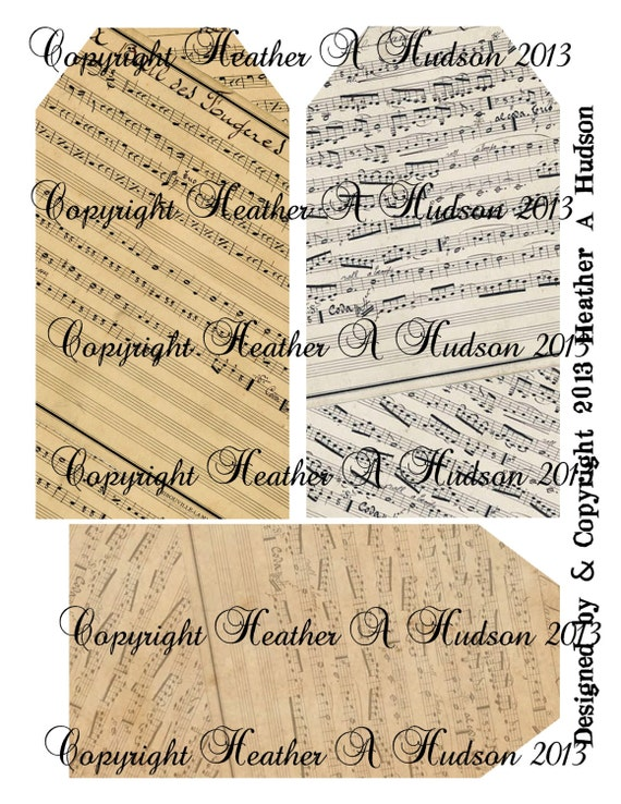 Vintage Music Large Tag Backgrounds Digital Collage sheet