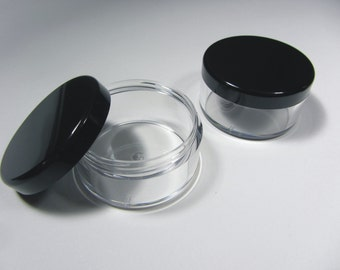 20 Cosmetic Jars Clear Plastic Beauty Containers - 30 Gram (Black Lids) - 3063-20   FREE US Shipping