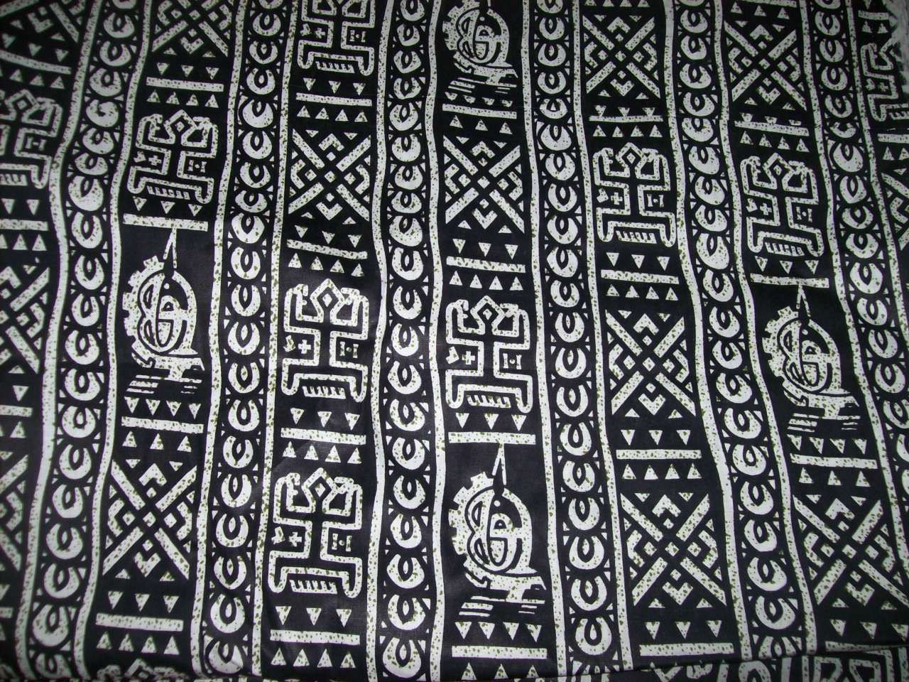 African Fabric Black And White Dogon Tribal Print Fabric Per