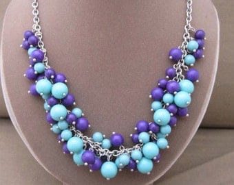 Glass Beaded Baubles Necklace, purple beads, blue beads, dangles necklace, signed necklace