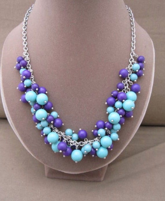 Long Glass Beaded Baubles Necklace, purple beads, blue beads, dangles necklace, signed necklace