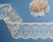 Ecru Lace Trim 8/16 Yards Vintage Floral 2 inch wide Lot KV Added Items Ship No Charge