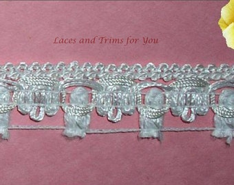 White Tassel Trim Braided Fringe 1 inch x 2/4 Yds Lace Lot R44 Added Items Ship No Charge