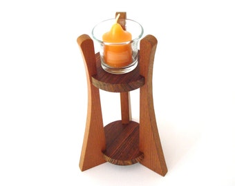 Tall Wooden Votive Candle Holder Teak Bocote Cordia Hand Cut Scroll Saw